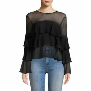 NWT! BCBGeneration Triple-Ruffle Sheer Top, Size S